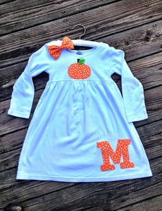 Pumpkin Halloween or Thanksgiving Personalized dress by Madebyjoli, $28.00