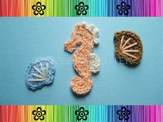 Seahorse and Seashell Applique  CROCHET PATTERN by EverLaughter, $4.95