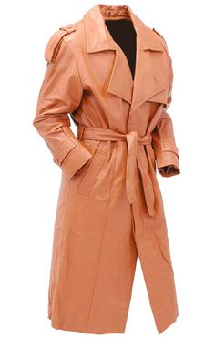 Men& Light Brown Belted Cowhide Leather Trench Coat with Zip Out Leather Trench Coat Mens, Leather Vest, Cowhide Leather, Brown Leather, Leather Jackets, Classic Trench Coat, Long Trench Coat, Brown Belt, Zip