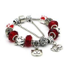 Pandora Style Charm Bracelet With Cat Lover Beads