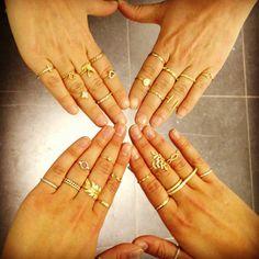 Multiple Gold Mid-Finger Rings