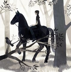 Girl, horse, bird, forest, by tono