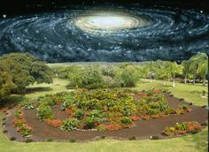 """""""The galaxy is dynamic, a place where old and new things appear disappear,"""" says Lomberg. Here, his portrait of the Milky Way, commissioned by the National Museum of Air and Space of the USA appears juxtaposed with the Galaxy Garden shortly after his inauguration in 2007."""