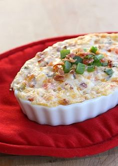 Warm BLT Dip: 1 cup sour cream 1 cup mayonnaise 1 (8oz.) block of cream cheese, softened 2 cups of Colby/Jack shredded cheese 4 or 5 Roma tomatoes, chopped 2 pkgs. of real bacon pieces 3 or 4 green onions, chopped Bake @ 350 for 30 minutes or so (until it's bubbling on the sides)