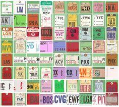 vintage airline baggage tags.