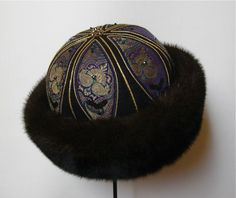 Pelshat / Pelshue.  Fur hat, Model Tzar in mink . Handembroidered top, old Indian silk brocade. Handmade by Jane Eberlein, Samarkand, Copenhagen, Denmark. www.samarkand.dk
