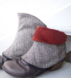 Make spats from strong/reinforced/quilted cloth?  Brown tweed + orange cord spats.