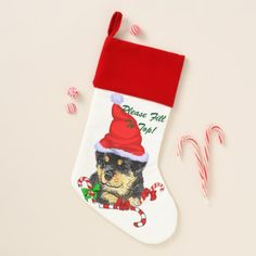 #Rottweiler Puppy Christmas Christmas Stocking - #rottweiler #puppy #rottweilers #dog #dogs #pet #pets #cute