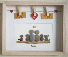 This is a beautiful small Pebble Art framed Picture of a Family handmade by myself using Pebbles and Driftwood Size of Picture incl Frame : approx. 23cm x 18.5cm This Picture is finished and only available as shown in Photo Thanks for looking Doris Facebook :