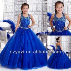 Free Shipping Royal blue Rhinestone Crystal Tulle Ball Gown Glitz Kids Party Communion Pageant Flower Girl Dresses For Wedding $60~$150