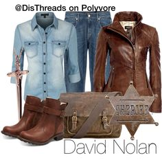 David Nolan - Disneybound by DisThreads by disthreads on Polyvore featuring polyvore, fashion, style, LE3NO, 7 For All Mankind, Timberland, Patricia Nash, Rachel Roy and Elope