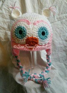 Owl Beanie, Owl Hat, Crochet Owl, Crochet Owl Hat, Crochet Beanie, Crochet Owl Beanie, Winter Hat, Fun Hat, Owl Winter Hat, Owl Cap by SewFancyCrochet on Etsy https://www.etsy.com/listing/104620871/owl-beanie-owl-hat-crochet-owl-crochet