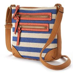 Apt. 9 Bailey Canvas Striped Crossbody Bag (Blue)