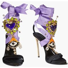Lace Up Embellished Satin Sandals, Sandali Con Tacco Donna | Dsquared2... ($1,480) ❤ liked on Polyvore featuring shoes, sandals, lace up sandals, laced shoes, dsquared2, satin sandals and dsquared2 shoes