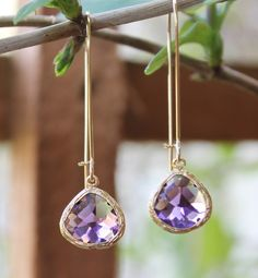 Stunning 16k gold plated amethyst glass stone dangle earrings. Sold on Etsy. Shop: Pretty Petal Jewelry.