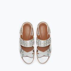 Zara - Shiny Jeweled Sandals
