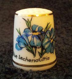 RARE Blue Lechenaultia West Australia Wildflower Porcelain Thimble Westminster   eBay