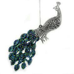 19cm Glittered Hanging Peacock