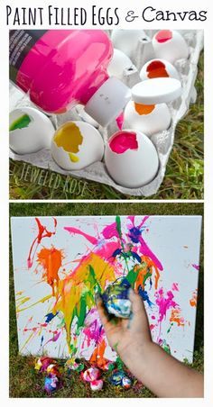Fill eggs with paint and toss them at canvas to make splash art.  SO FUN!!