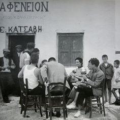 A coffee shop in Greece taken by an American photographer in coffeeshop kafenio greece athens ios banter talk philosophy words time maketime love peace prewar photographer photography blackandwhitephotography camera empoweringwomen Vintage Pictures, Old Pictures, Old Photos, Greek Cafe, Greece History, Greece Pictures, Greece Photography, Greek Culture, Yesterday And Today