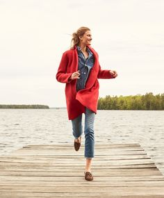 J. Crew Daphne Topcoat in Boiled Wool, Selvedge Chambray Shirt, Denim Chore Jacket with Patch Pocks and Vintage Crop Jean in Landers Wash