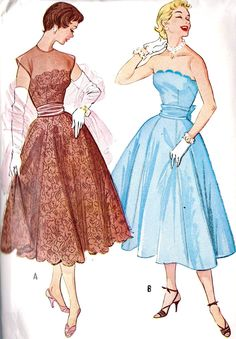 The scalloped necklines are so cute! (McCall's 9545, copyright 1953). #vintage #sewing #pattern #1950s #dress
