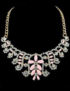 Pink Gemstone Diamond Gold Necklace 9.60