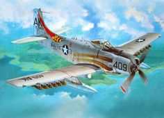 Pictures Airplane A - Skyraider Painting Art Aviation First Indochina War, Douglas Aircraft, Old Planes, Aircraft Painting, Air Fighter, Thing 1, Vintage Airplanes, Aircraft Design, Aircraft Pictures