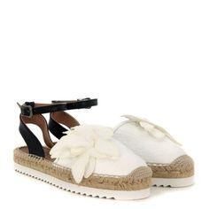 Laterale Sandalo espadrillas Twin-Set in pelle stampata bianco burro
