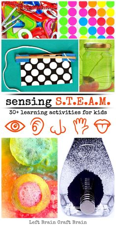 Kids can feed their senses while they play & learn with these awesome STEAM activities. 30+ Science, Technology, Engineering, Art & Math projects!