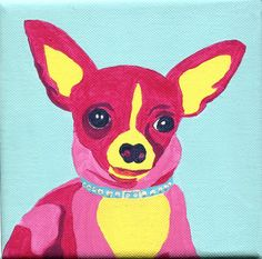 Pinky the Chihuahua Acrylic on Wrapped Canvas Chihuahua Facts, Cute Chihuahua, Chihuahua Puppies, Chihuahuas, Dog Heaven, Dachshund, Best Dog Breeds, Shelter Dogs, Little Dogs