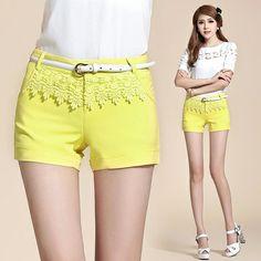 Korean Fashion Pure Color Lace Wild Shorts-US$13.48