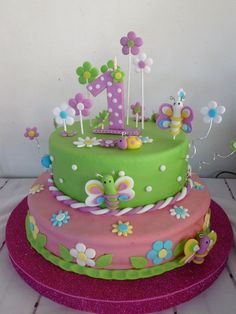 torta cumpleaños nena Butterfly Birthday Cakes, 1st Birthday Cakes, Butterfly Cakes, Birthday Cake Decorating, Wilton Cake Decorating, Bug Cake, Birthday Party Snacks, Novelty Cakes, Girl Cakes