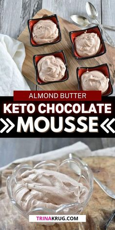Keto Almond Chocolate Mousse   A light and fluffy keto chocolate dessert to enjoy any day of the week! Low Carb Chocolate Mousse, Frozen Chocolate, Chocolate Desserts, Almond Chocolate, Almond Butter Keto, Easy Diets To Follow, Avocado Mousse, Pumpkin Pudding, Dessert Recipes