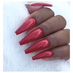 Red Coffin Nails by MargaritasNailz