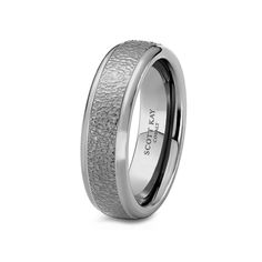 White Cobalt Hammered Brushed Center Mens Wedding Band From the Prime Collection by Scott Kay - 7 mm