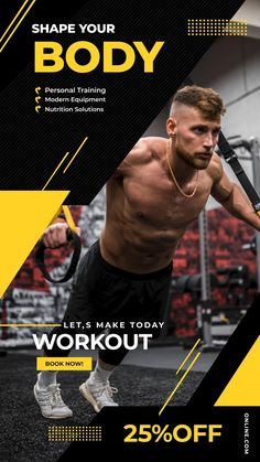 Gym Advertising, Fitness Flyer, Motion Poster, Social Media Page Design, Yugi, Sports Graphic Design, Workout Posters, Ads Creative, Instagram Design