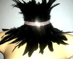 Steampunk jewelry LUXE Black feather choker steampunk collar necklace with rhinestones. Burning Man Festival. All colors available    This is a