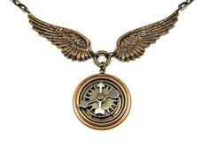 STEAMPUNK NECKLACE Industrial Gears Airship Aviator Wings Jewelry. $44.00, via Etsy.