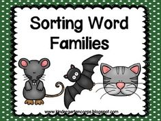 FREE - Students use glue and scissors to categorize 8 cute clipart pictures by their rime or by what word family they belong to.  Page 1: : _at, _it, _ot, _et Page 2: _og, _ig, _ug, _ag