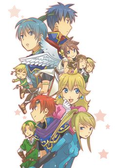 Super Smash Bros fan art. I don't know why there's two Links, but... Hey! It's Smash Bros!