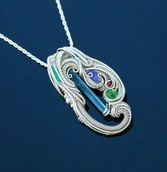 Aquamarine Emerald Tanzanite Tsavorite Garnet heady wire wrapped pendant by TendaiDesigns