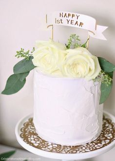 First anniversary party ideas you'll love; Gold and white dessert party. DIY anniversary cake topper
