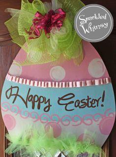 Easter Egg Door Hanger Sign by SparkledWhimsy on Etsy, $45.00