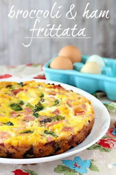 This Broccoli and Ham Frittata is incredibly tasty and so easy to throw together. Perfect for serving during the holidays or for a crowd pleasing  option for busy weeknights. (nondairy, gluten-free, Paleo)