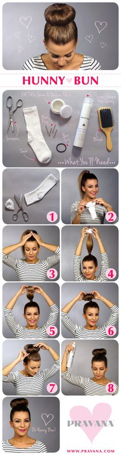 1. Cut the toe off of the sock. 2. Take the sock and begin rolling it into itself to create a doughnut shape. 3. Put the hair in a high ponytail and smooth unwanted flyaways with DETAIL Shine & Define Polish. 4. Place the sock doughnut around the end of your ponytail. 5. Roll the sock down your ponytail, tucking the hair inside as you roll. 6. Keep rolling until you form a doughnut shaped bun. 7. Tuck and pin any stray hairs underneath the sock doughnut. 8. Finish the look with a few sprays…