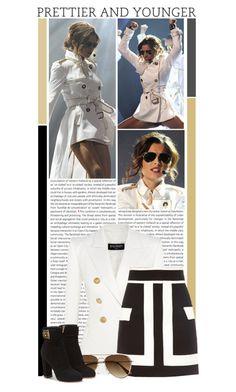 """#1202 (Cheryl Fernandez-Versini)"" by lauren1993 ❤ liked on Polyvore featuring Oris, Balmain, H&M and Salvatore Ferragamo"