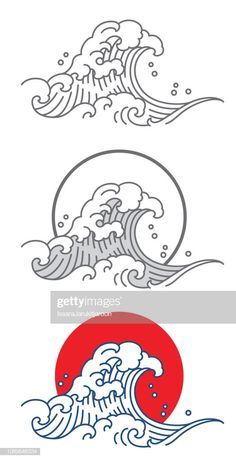 Big wave ocean vector icon thai japan outline fill color with wrzige brlauch butter mit limette und macadamia Japanese Tattoo Art, Japanese Art, Wave Drawing, Wave Illustration, Icon Illustrations, Asian Tattoos, Bird Tattoos, Feather Tattoos, Waves Vector