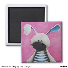 The blue rabbit 2 inch square magnet