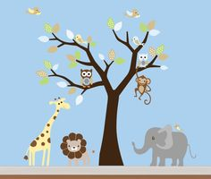 Children Wall Decals Safari Nursery Jungle Wall by NurseryWallArt, $110.00